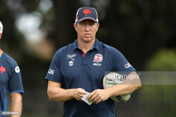 Roosters coach Trent Robinson watches on during the Sydney Roosters NRL training session at Kippax Lake on February 27 2017 in Sydney Australia