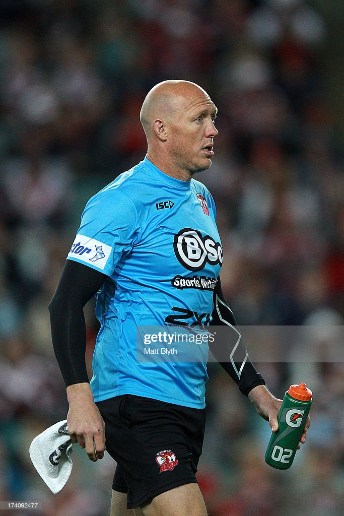 Roosters trainer Craig Fitzgibbon looks on during the round 19 NRL match between the Sydney Roosters and the Cronulla Sharks at Allianz Stadium on July 20, 2013 in Sydney, Australia.
