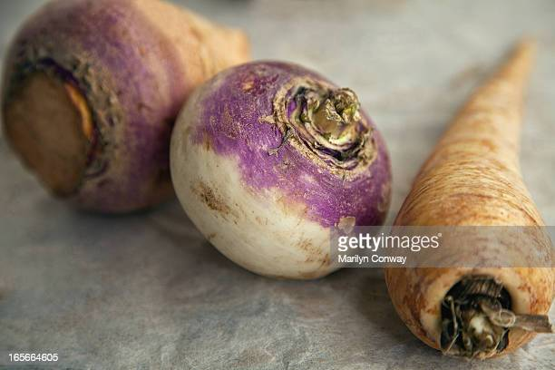 Root vegetable on table