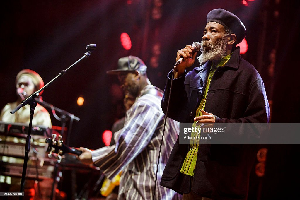 Roots reggae band Misty In Roots perform on the second day of the BBC 6 Music Festival at Colston Hall on February 13, 2016 in Bristol, England.