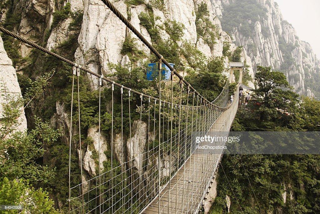 Rope bridge across a mountain, Shaolin Monastery, Henan Province, China