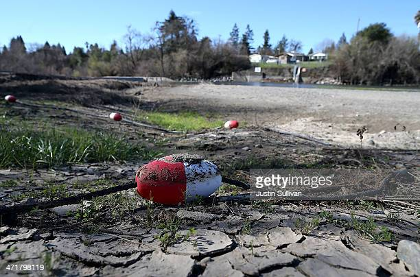 A rope float sits on the dry banks of the Russian River at Healdsburg Veterans Memorial Beach Park on February 21 2014 in Healdsburg California...