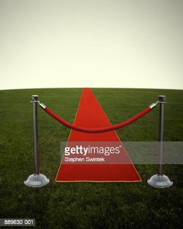 Rope in front of red carpet, on grass (Digital Enhancement) : Stock Photo