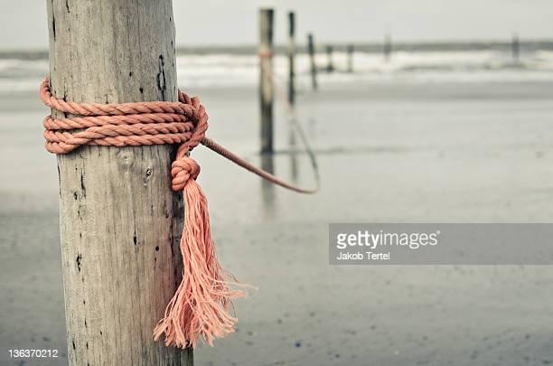 Rope in wind on coast of  German island Norderney