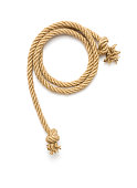 Ship rope tied with knot on white background