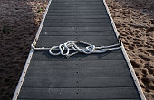 A rope remains tied to a boat dock that sits on what used to be the bottom of Lake Mead at the abandoned Echo Bay Marina on May 12 2015 in Lake Mead...