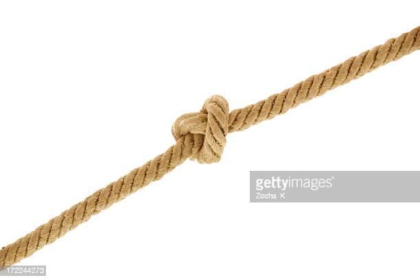 A rope with a knot on a white background