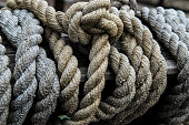 Ropes from an old sailing boat, close-up.