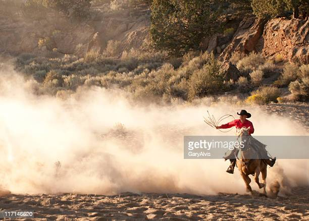 Roper cowboy, arm raised, on running horse-backlit dust