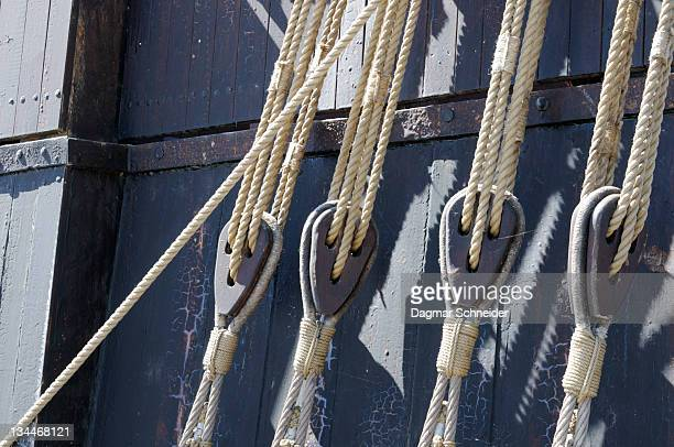 Ropes and pulleys on a ship