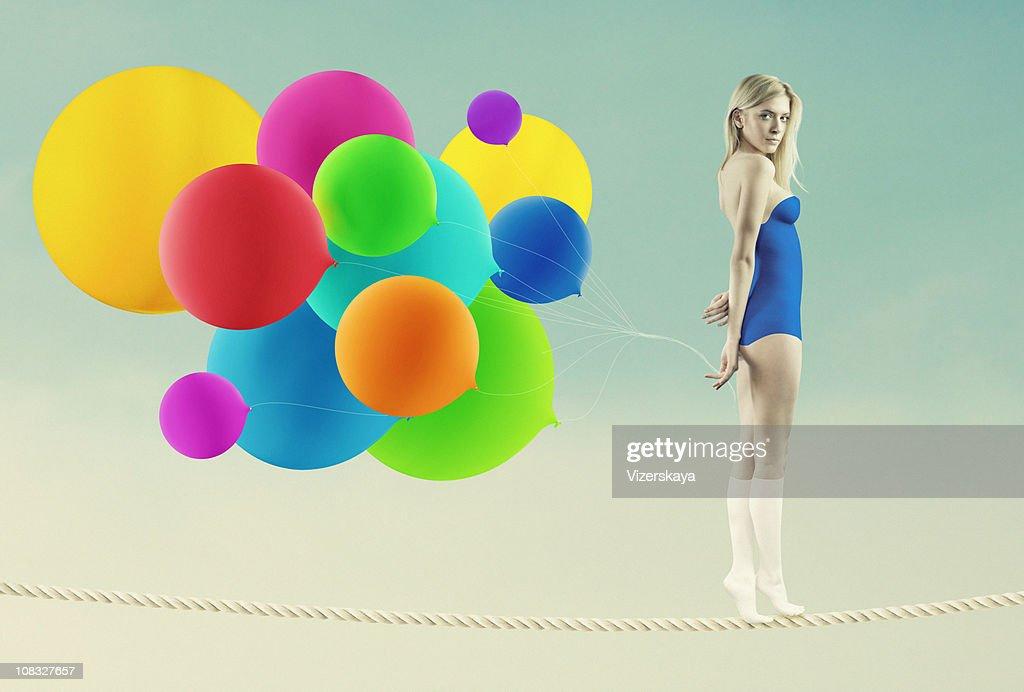rope-walker girl : Stock Photo