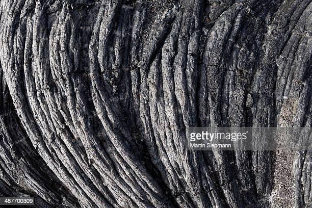 Ropy lava, natural monument of Tubo de Volcanico Todoque near Las Mancha, lava flow from 1949, La Palma, Canary Islands, Spain