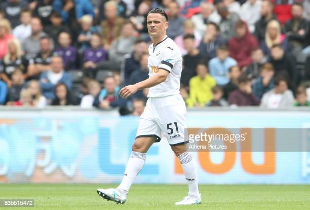 Roque Mesa of Swansea City during the Premier League match between Swansea City and Manchester United at The Liberty Stadium on August 19 2017 in...