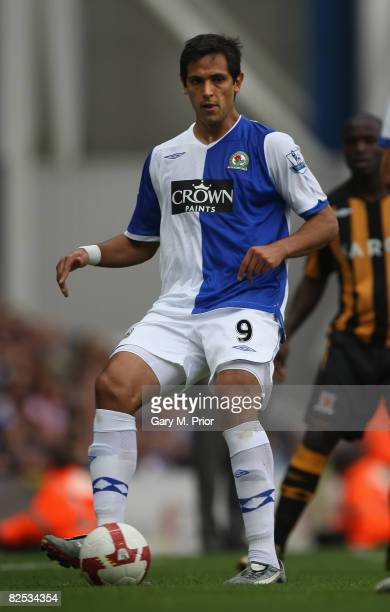Roque Santa Cruz of Blackburn Rovers in action during the Barclays Premier League match between Blackburn Rovers and Hull City at Ewood Park on...