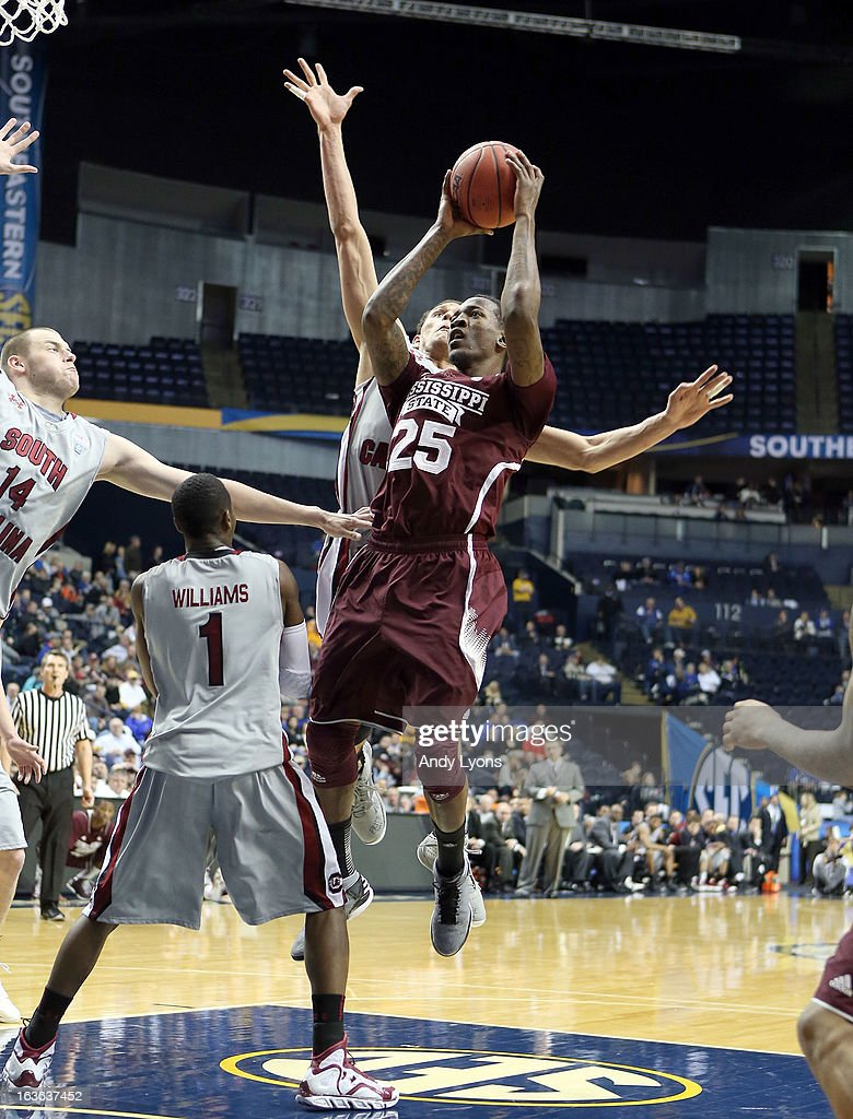 Roquez Johnson #25 of the Mississippi State Bulldogs shoots the ball against the South Carolina Gamecocks during the first round game of the Southeastern Conference Tournament at Bridgestone Arena on March 13, 2013 in Nashville, Tennessee.
