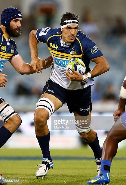 Rory Arnold of the Brumbies in action during the round four Super Rugby match between the Brumbies and the Force at GIO Stadium on March 6 2015 in...