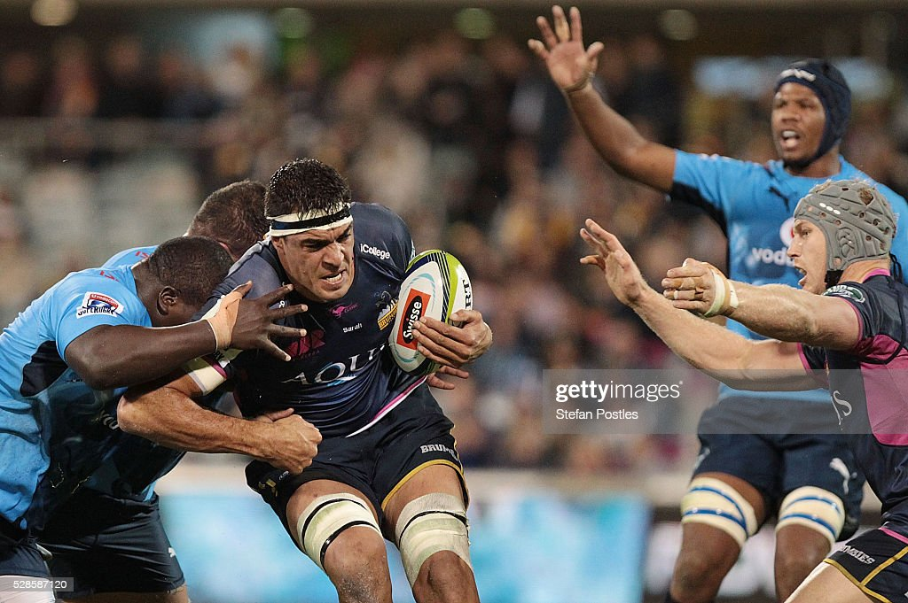 Rory Arnold of the Brumbies is tackled during the round 11 Super Rugby match between the Brumbies and the Bulls at GIO Stadium on May 6, 2016 in Canberra, Australia.