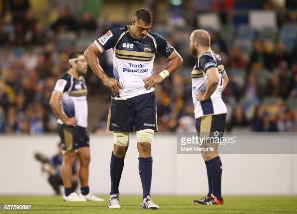 Rory Arnold of the Brumbies looks dejected after defeat in the round five Super Rugby match between the Brumbies and the Highlanders at GIO Stadium...
