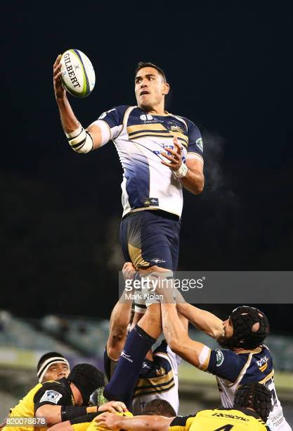 Rory Arnold of the Brumbies wins line out ball during the Super Rugby Quarter Final match between the Brumbies and the Hurricanes at Canberra Stadium...