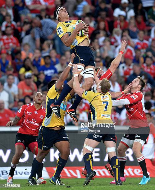 Rory Arnold of the Brumbies wins the lineout during the Super Rugby match between Emirates Lions and Brumbies at Emirates Airline Park on May 16 2015...