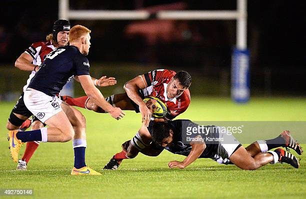 Rory Arnold of the Vikings takes on the defence during the NRC match between Queensland Country and UC Vikings at Sunshine Coast Stadium on October...