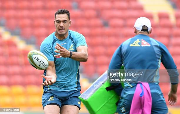 Rory Arnold passes the ball during the Australian Wallabies Captain's Run at Suncorp Stadium on October 20 2017 in Brisbane Australia