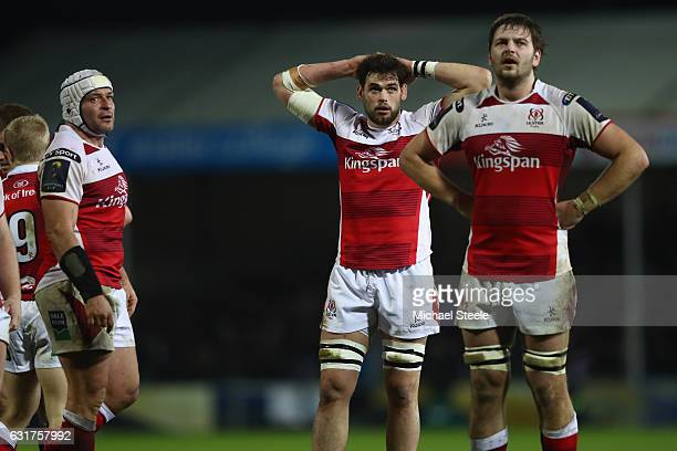 Rory Best Andy Warwick and Iain Henderson of Ulster show their frustration during the European Rugby Champions Cup Pool 5 match between Exeter Chiefs...