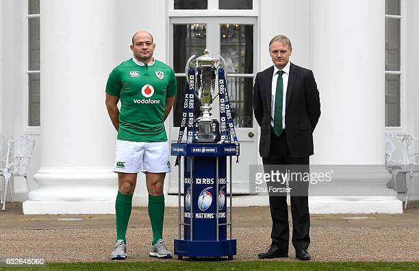 Rory Best Captain of Ireland and Joe Schmidt Head Coach of Ireland pose with The Six Nations Trophy during the 2017 RBS Six Nations launch at The...