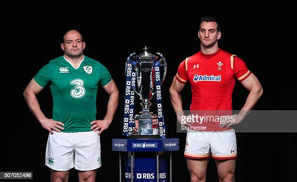Rory Best captain of Ireland and Sam Warburton captain of Wales pose with the trophy during the RBS Six Nations launch at The Hurlingham Club on...