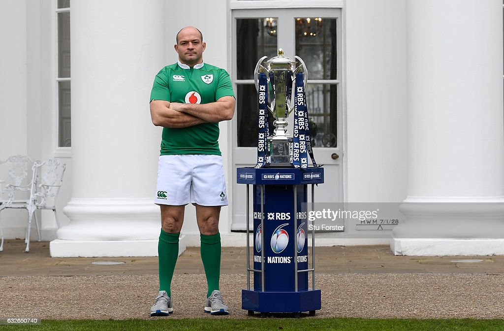Rory Best, Captain of Ireland poses with The Six Nations Trophy during the 2017 RBS Six Nations launch at The Hurlingham Club on January 25, 2017 in London, England.