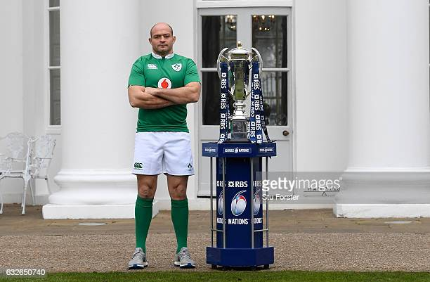 Rory Best Captain of Ireland poses with The Six Nations Trophy during the 2017 RBS Six Nations launch at The Hurlingham Club on January 25 2017 in...