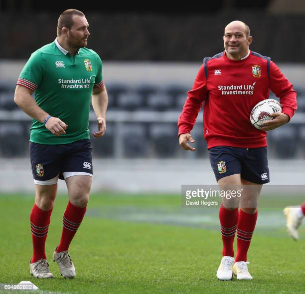 Rory Best looks on with fellow hooker Ken Owens during the British Irish Lions captain's run held at the Forsyth Barr Stadium on June 12 2017 in...