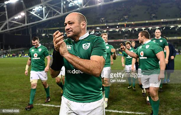 Rory Best of Ireland celebrates with his team mates following his side's victory during the international match between Ireland and Australia at the...