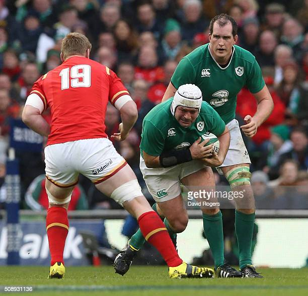 Rory Best of Ireland is confronted by Bradley Davies of Wales during the RBS Six Nations match between Ireland and Wales at the Aviva Stadium on...