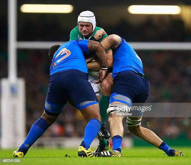 Rory Best of Ireland is wrapped up during the 2015 Rugby World Cup Pool D match between France and Ireland at Millennium Stadium on October 11 2015...