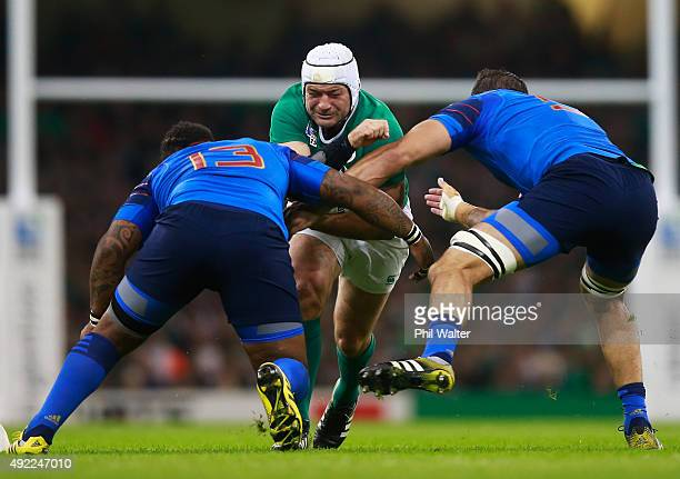 Rory Best of Ireland runs into Mathieu Bastareaud of France during the 2015 Rugby World Cup Pool D match between France and Ireland at Millennium...