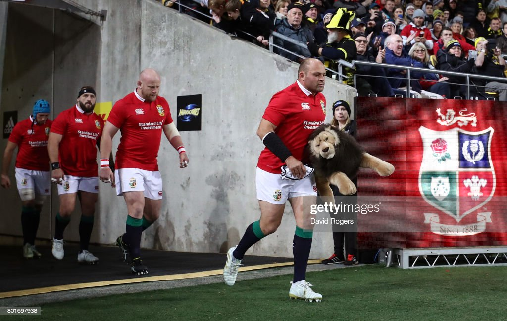 Rory Best of the Lions leads out the Lions during the 2017 British & Irish Lions tour match between the Hurricanes and the British & Irish Lions at the Westpac Stadium on June 27, 2017 in Wellington, New Zealand.