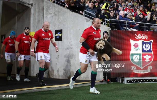 Rory Best of the Lions leads out the Lions during the 2017 British Irish Lions tour match between the Hurricanes and the British Irish Lions at the...