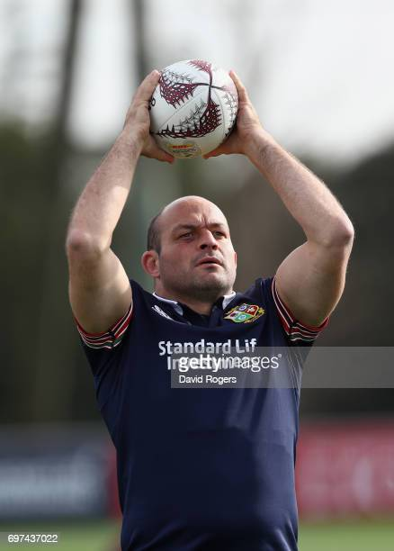 Rory Best practices his throwing during the British Irish Lions training session at Beetham Park on June 19 2017 in Hamilton New Zealand