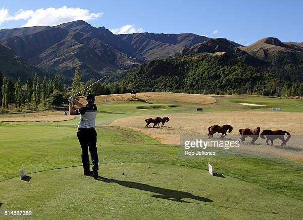Rory Bourke of Australia plays an iron shot at The Hills during the BMW ISPS Handa New Zealand Open on March 10 2016 in Queenstown New Zealand