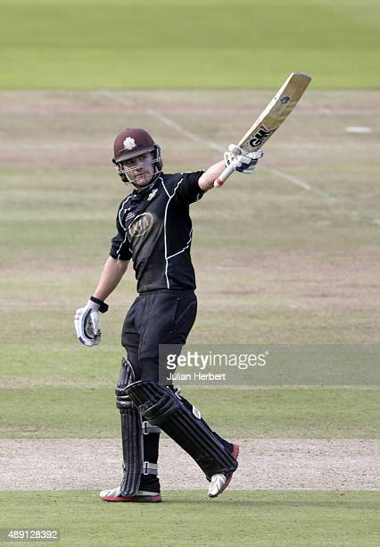 Rory Burns of Surrey acknowledges his 50 during the Royal London OneDay Cup Final between Surrey and Gloustershire at Lord's Cricket Ground on...