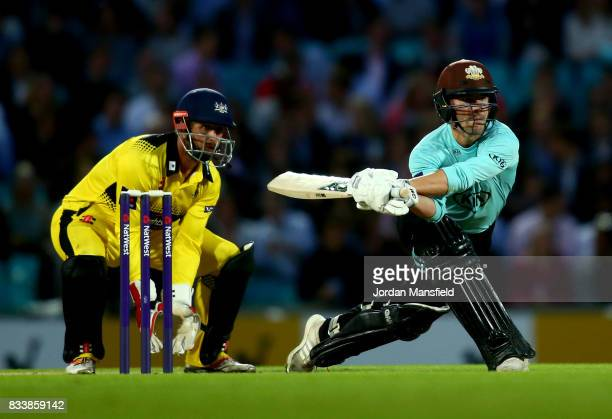 Rory Burns of Surrey bats as Phil Mustard of Gloucestershire keeps wicket during the NatWest T20 Blast match between Surrey and Gloucestershire at...
