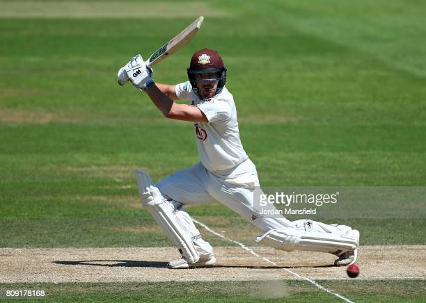 Rory Burns of Surrey bats during day three of the Specsavers County Championship Division One match between Surrey and Hampshire at The Kia Oval on...