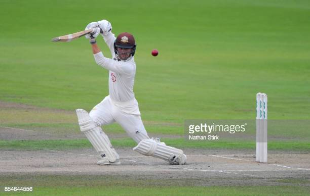 Rory Burns of Surrey batting during the County Championship Division One match between Lancashire and Surrey at Old Trafford on September 27 2017 in...