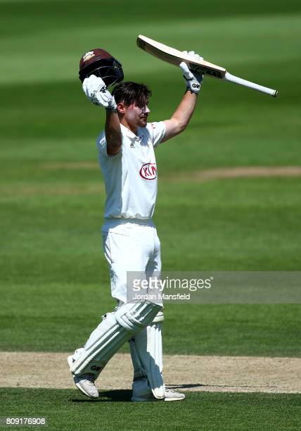 Rory Burns of Surrey celebrates his century during day three of the Specsavers County Championship Division One match between Surrey and Hampshire at...