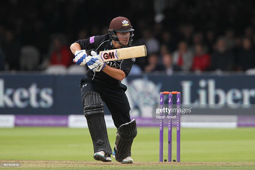 Rory Burns of Surrey hits out during his innings of 40 during the Royal London One-Day Cup Final match between Surrey and Warwickshire at Lord's Cricket Ground on September 17, 2016 in London, England. (Photo by Sarah Ansell/Getty Images).