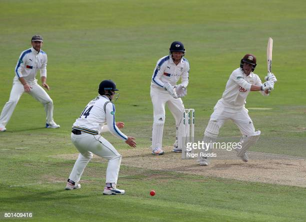 Rory Burns of Surrey in action during the Specsavers County Championship Division One match between Yorkshire and Surrey at Headingley on June 26...