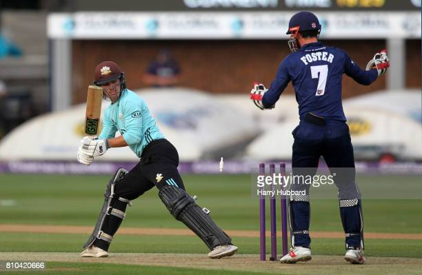 Rory Burns of Surrey is bowled by Ashar Zaidi of Essex during the Natwest T20 Blast match between Essex and Surrey at Cloudfm County Ground on July 7...