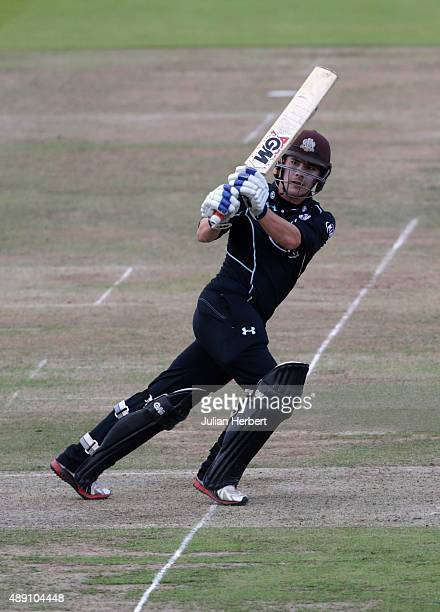 Rory Burns of Surrey scores runs during the Royal London OneDay Cup Final between Surrey and Gloustershire at Lord's Cricket Ground on September 19...