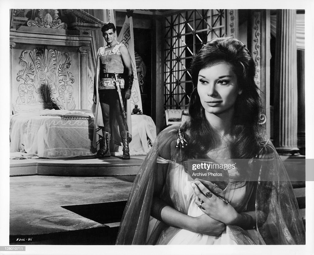 Rory Calhoun shares an attraction with Lea Massari in a scene from the film 'The Colussus Of Rhodes' 1961